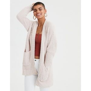 American Eagle Ribbed Boyfriend Cardigan Cream